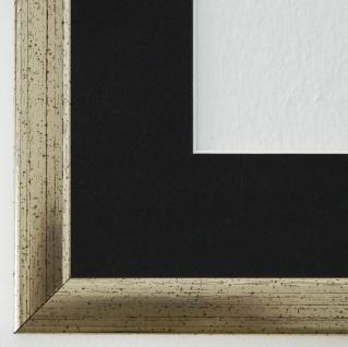 Bilderrahmen Hannover in Silber mit Passepartout in Schwarz 2, 4 Top Qualität