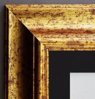 Bilderrahmen Acta Gold Antik gemasert mit Passepartout Schwarz 6, 7 - alle Größen