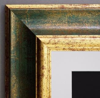 Bilderrahmen Acta Grün Gold Antik mit Passepartout in Weiss 6, 7 - alle Größen