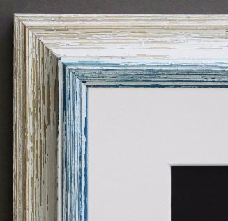 Bilderrahmen Bari in Beige Blau Klassisch Passepartout in Weiss 4, 2 - jede Größe