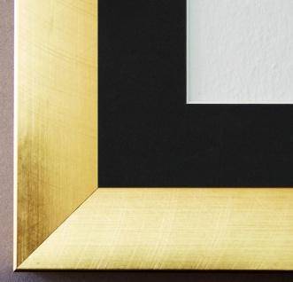 Bilderrahmen Bergamo in Gold mit Passepartout in Schwarz 4, 0 - NEU alle Größen