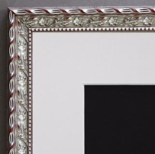 Bilderrahmen Brescia Silber Barock mit Passepartout in Weiss 2, 0 - alle Größen