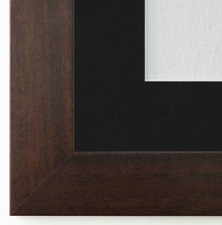 Bilderrahmen Florenz dkl. Braun mit Passepartout in Schwarz 4, 0 - NEU jede Größe