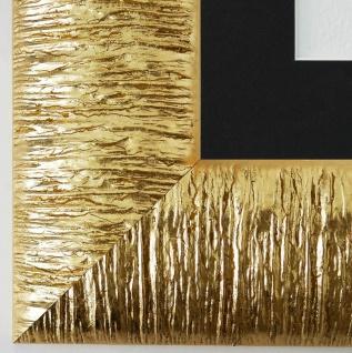 Bilderrahmen Rostock in Gold mit Passepartout in Schwarz 7, 2 Top Qualität