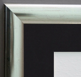 Bilderrahmen Imola Silber Rot Modern Passepartout in Schwarz 3, 6 - alle Größen