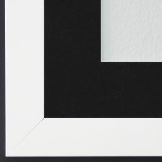 Bilderrahmen Leverkusen Weiß Matt mit Passepartout in Schwarz 3, 3 Top Qualität