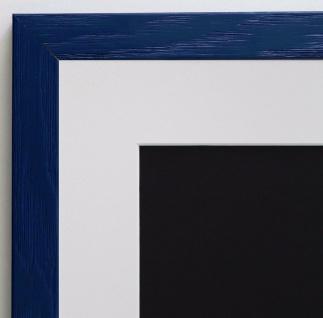 Bilderrahmen Siena dunkel Blau Modern mit Passepartout Weiss 2, 0 - alle Größen