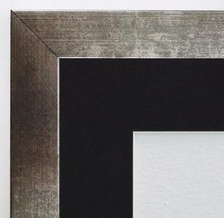 Bilderrahmen Wolfsburg Silber Metall Antik Passepartout Schwarz 3, 0 - jede Größe