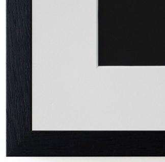 Bilderrahmen Como Schwarz Struktur mit Passepartout Weiss 2, 0 - NEU alle Größen