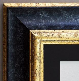 Bilderrahmen Acta Schwarz Gold Antik mit Passepartout Schwarz 6, 7 - alle Größen