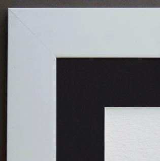 Bilderrahmen Florenz Weiss Modern mit Passepartout in Schwarz 4, 0 - alle Größen