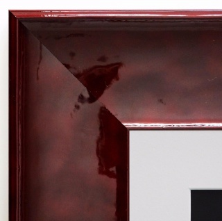 Bilderrahmen Taranto in Rot Lack Modern Passepartout in Weiss 7, 5 - alle Größen