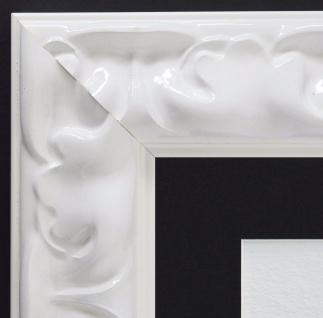 Bilderrahmen Sylt Weiß Lack Modern mit Passepartout in Schwarz 5, 7 - alle Größen