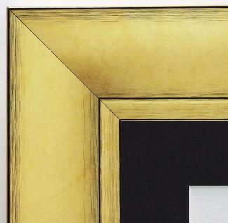Bilderrahmen Bochum Gold Shabby rmit Passepartout in Schwarz 6, 9 - alle Größen