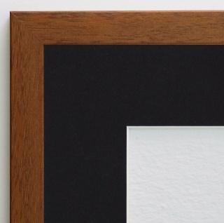 Bilderrahmen Neapel hell Braun Modern mit Passepartout Schwarz 2, 0 - alle Größen