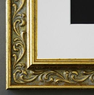 Bilderrahmen Verona in Gold mit Passepartout in Weiss 4, 4 - NEU alle Größen