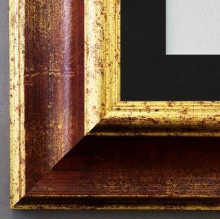 Bilderrahmen Acta in Rot Gold mit Passepartout in Schwarz 6, 7 - NEU alle Größen