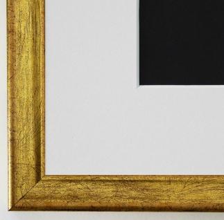 Bilderrahmen Kiel in Gold mit Passepartout in Weiss 2, 3 Top Qualität