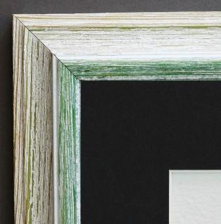 Bilderrahmen Bari in Beige Grün Antik Passepartout in Schwarz 4, 2 - alle Größen