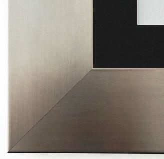 Bilderrahmen Novara dkl. Silber mit Passepartout in Schwarz 7, 0 - NEU jede Größe
