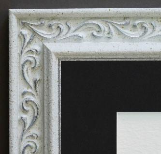 Bilderrahmen Verona Weiss Silber Antik Passepartout in Schwarz 4, 4 - alle Größen