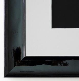 Bilderrahmen Matera Schwarz glän. mit Passepartout in Weiss 3, 9 - NEU jede Größe