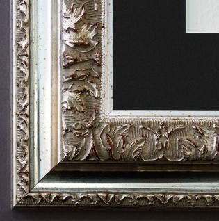Bilderrahmen Rom in Silber mit Passepartout in Schwarz 6, 5 - NEU alle Größen