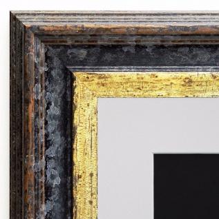 Bilderrahmen Trento Schwarz Gold Antik Passepartout in Weiss 5, 4 - alle Größen