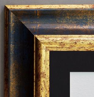 Bilderrahmen Acta Blau Gold Antik mit Passepartout in Schwarz 6, 7 - alle Größen