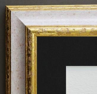 Bilderrahmen Genua Weiss Rot Gold Antik Passepartout in Schwarz 4, 3 - jede Größe