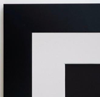 Bilderrahmen Florenz Schwarz Modern mit Passepartout in Weiss 4, 0 - alle Größen