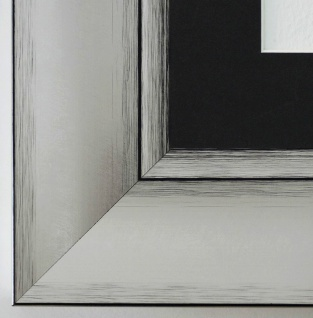 Bilderrahmen Bochum in Silber rmit Passepartout in Schwarz 6, 9 Top Qualität