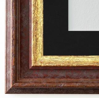 Bilderrahmen Trento Braun Gold mit Passepartout in Schwarz 5, 4 - NEU alle Größen