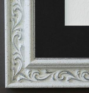 Bilderrahmen Verona in Weiss Silber mit Passepartout in Schwarz 4, 4 - jede Größe
