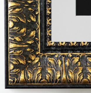 Bilderrahmen Ancona Schwarz Gold mit Passepartout in Weiss 7, 5 - NEU alle Größen