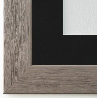 Bilderrahmen Florenz Grau Struk. mit Passepartout Schwarz 4, 0 - NEU alle Größen