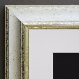 Bilderrahmen Genua Weiss Silber Art Deco Passepartout in Weiss 4, 3 - alle Größen