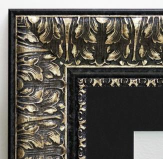 Bilderrahmen Ancona Schwarz Silber Antik Passepartout Schwarz 7, 5 - alle Größen
