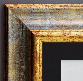 Bilderrahmen Acta Grau Gold Antik mit Passepartout in Schwarz 6, 7 - alle Größen