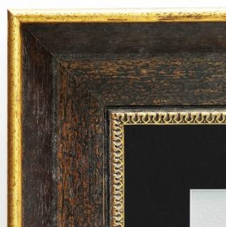 Bilderrahmen Monza dkl. Braun Gold Antik Passepartout Schwarz 6, 7 - alle Größen