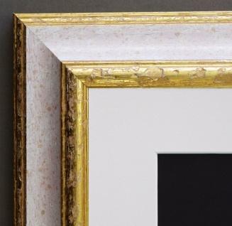 Bilderrahmen Genua Weiss Rot Gold Art Deco Passepartout Weiss 4, 3 - alle Größen