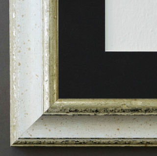 Bilderrahmen Genua Weiss Silber mit Passepartout in Schwarz 4, 3 - NEU jede Größe