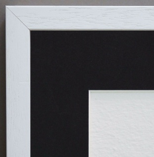 Bilderrahmen Como Weiss Struk. Antik Passepartout in Schwarz 2, 0 - alle Größen