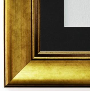 Bilderrahmen Flensburg in Gold mit Passepartout in Schwarz 5, 5 Top Qualität