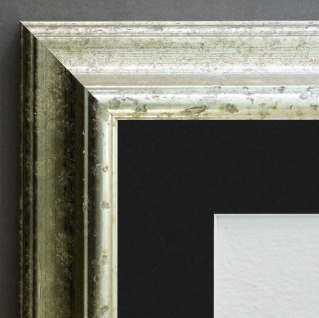 Bilderrahmen Genua in Silber Antik mit Passepartout in Schwarz 4, 3 - alle Größen