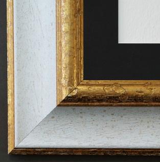 Bilderrahmen Acta in Weiss Gold mit Passepartout in Schwarz 6, 7 - NEU jede Größe