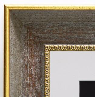 Bilderrahmen Monza Grau Gold Antik mit Passepartout in Weiss 6, 7 - alle Größen