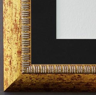 Bilderrahmen Turin in Gold mit Passepartout in Schwarz 4, 0 - Top Qualität