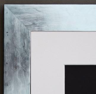 Bilderrahmen Lecce in Silber Shabby mit Passepartout in Weiss 3, 9 - alle Größen
