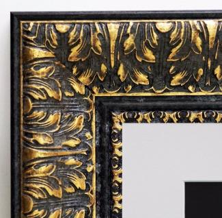 Bilderrahmen Ancona Schwarz Gold Barock Passepartout in Weiss 7, 5 - alle Größen